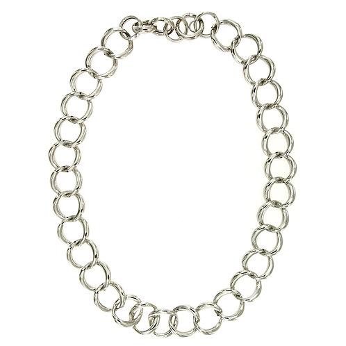 CL9254B Rhodium Silver Chain Neclace
