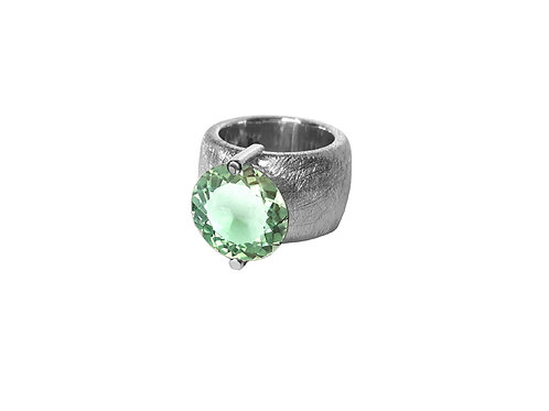 AN8580B-Q-VE-Rhodium & Green Quartz 14mm Rnd-Band Ring