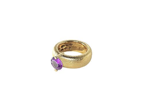 AN8583G-Q-VI-Gold & Violet Quartz  8mm  Rnd-Band Ring