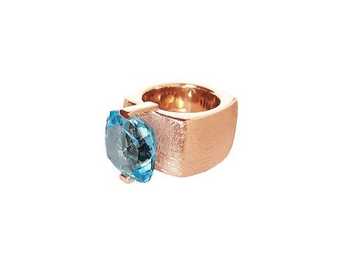 AN8590R-Topaz-Golden Rose & Nat/Blu Topaz 14mm  Sqrd-Band Ring