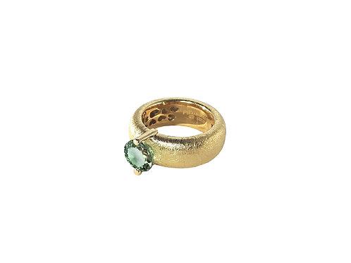 AN8583G-Q-VE-Gold & Green Quartz  8mm  Rnd-Band Ring