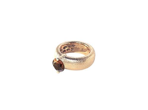 AN8583R-Q-FU-Golden Rose & Smoky Quartz  8mm  Rnd-Band Ring