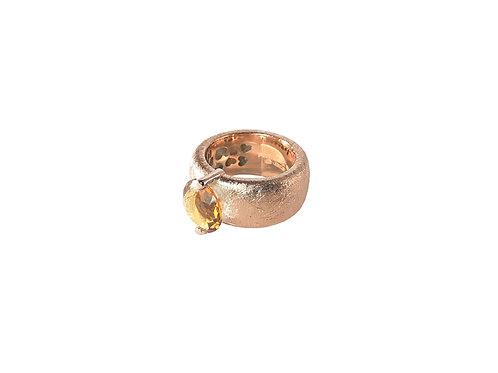AN8582R-Q-COGolden Rose & Cognac Quartz  10mm  Rnd-Band Ring