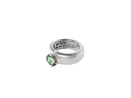 AN8583B-Q-VE-Rhodium & Green Quartz  8mm  Rnd-Band Ring