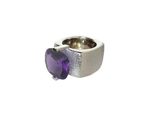 AN8590B-Q-VI-Rhodium & Violet Quart 14mm  Sqrd-Band Ring