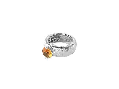 AN8583B-Q-CO-Rhodium & Cognac Quartz  8mm  Rnd-Band Ring