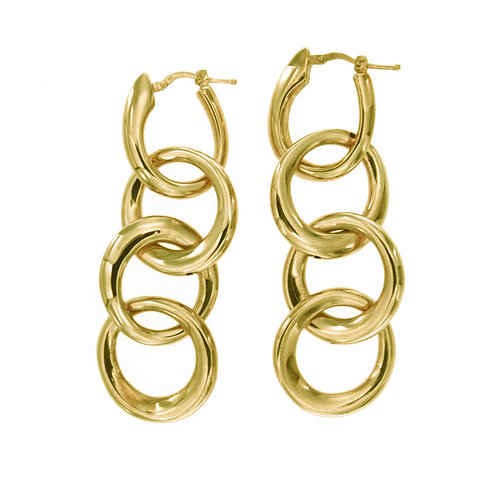 ORPS9086G Golden Silver Earrings