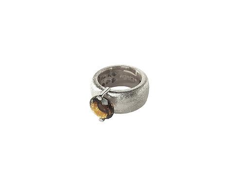 AN8582B-Q-FU-Rhodium & Smoky Quartz  10mm  Rnd-Band Ring