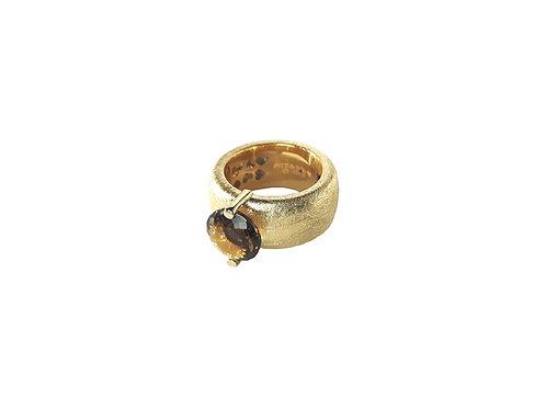 AN8582G-Q-FU-Gold & Smoky Quartz  10mm  Rnd-Band Ring