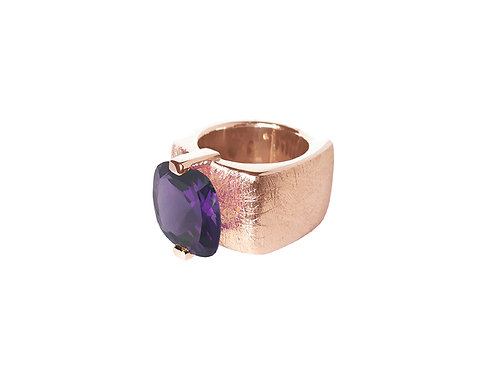 AN8590R-Q-VI-Golden Rose & Violet Quartz 14mm  Sqrd-Band Ring