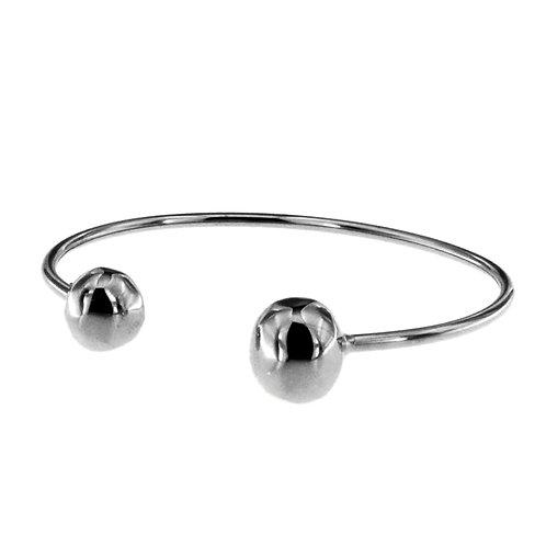 BR8554B  Rhodium Silver Open Ball Bangle