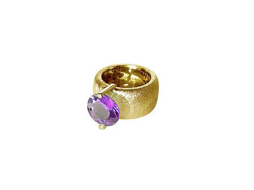 AN8581G-Q-VI-Gold & Violet Quartz 12mm Rnd-Band Ring