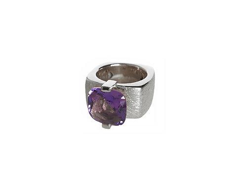 AN8591B-Q-VI-Rhodium & Violet Quartz 12mm  Sqrd-Band Ring
