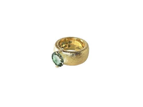AN8582G-Q-VE-Gold & Green Quartz  10mm  Rnd-Band Ring