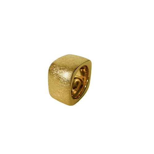 Squared Scratched  Gold Ring Bands from 6 to 14mm H.
