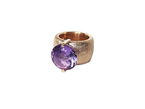 AN8580R-Q-VI-Golden Rose & Violet Quartz 14mm Rnd-Band Ring