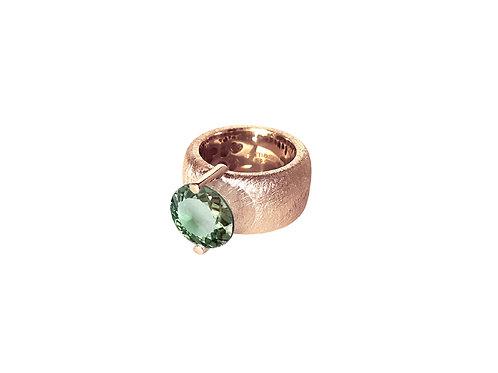 AN8581R-Q-VE-Golden Rose & Green Quartz  12mm  Rnd-Band Ring