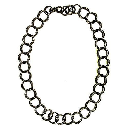 CL9254N Black Rhodium Silver Chain Neclace