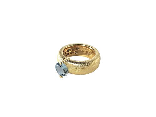 AN8583G-Topaz-Gold & Nat/Blu Topaz  8mm  Rnd-Band Ring