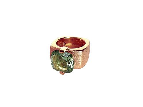 AN8591R-Q-VE-Golden Rose & Green Quartz 12mm  Sqrd-Band Ring