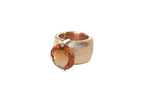 AN8580R-Q-CO-Golden Rose & Cognac Quartz 14mm Rnd-Band Ring