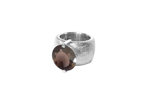 AN8580B-Q-FU-Rhodium & Smoky Quartz 14mm Rnd-Band Ring