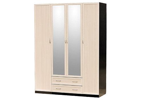 Шкаф для платья и белья 4-дверный (составной: шк 1-дв. + шк 3 дв.) с зеркалами