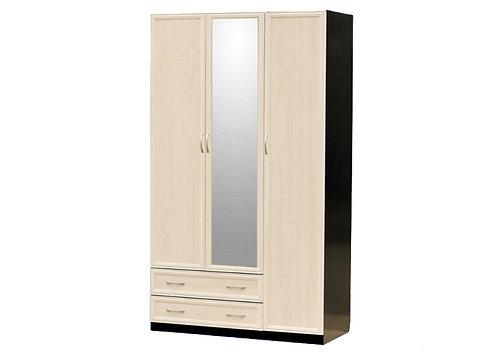 Шкаф для платья и белья 3-дверный (с профилем МДФ) с 1 малым зеркалом