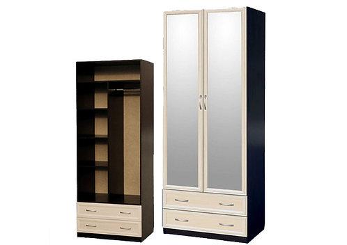 Шкаф для платья и белья 2-дверный (с профилем МДФ) с 2 зеркалами