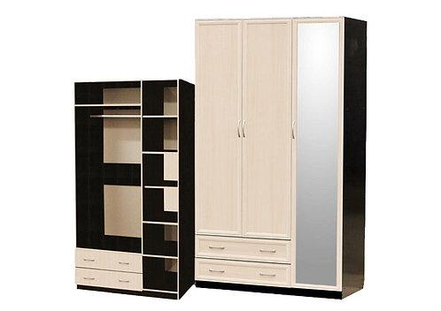 Шкаф для платья и белья 3-дверный (с профилем МДФ) с 1 большим зеркалом