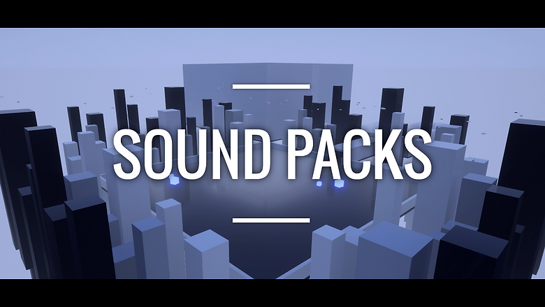 A black and white image with a blue tint. In the foreground and middle ground are simple recatngular blocks reminiscent of skyscrapers, surrounding a large courtyard. In the background is a huge minimalist cube. This image is for the Sound Packs sold by Valkyrie Sound, currently available on three platforms: Epic Marketplace, Unity Asset Store, and DriveThruRPG.com.