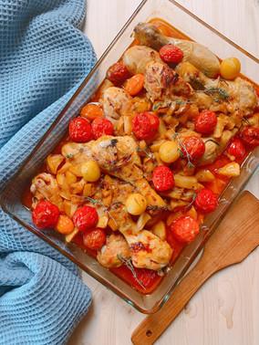 Pollo Provenzal con manzanas y hierbas aromáticas
