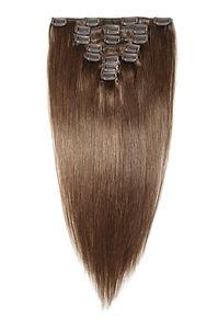 Clip in straight dark brown human hair e