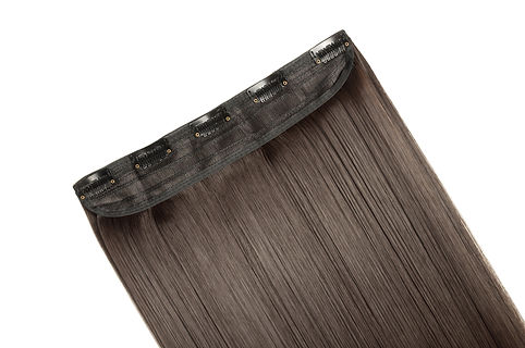 Single piece clip in straight brown synt
