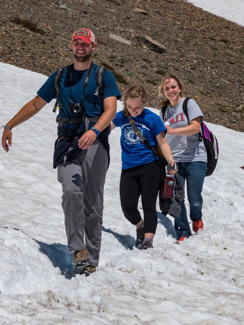 Hiking through Logan Pass
