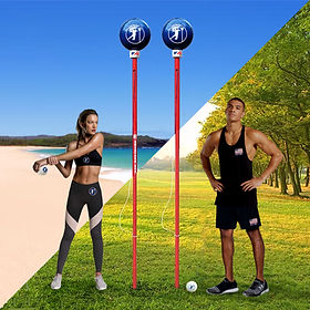 Angleball field & beach with two models.