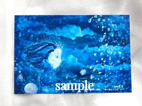 小さな複製画(はがきタイプ)HISA  青い世界 「星が生まれるとき」