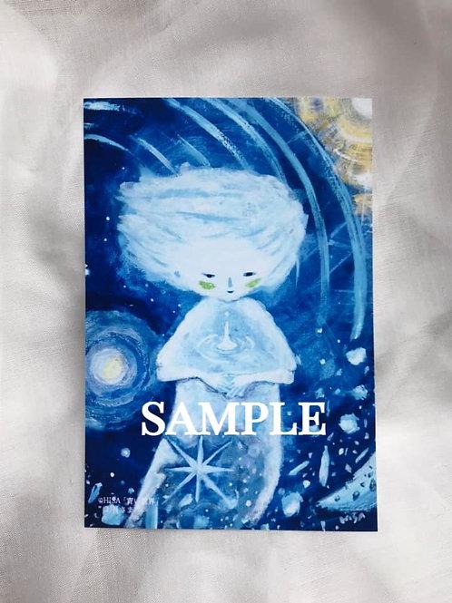 小さな複製画(はがきタイプ)HISA  青い世界 「お月さま」