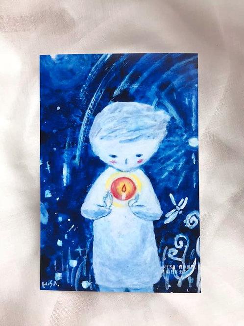 ポストカード「青い世界」お日さま