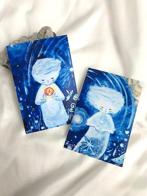 ポストカード「青い世界」お日さまとお月さま 2枚セット