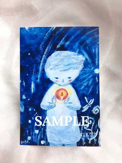 小さな複製画(はがきタイプ)HISA  青い世界 「お日さま」