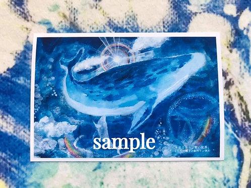 ポストカード    HISA 青い世界「くじらの親子と虹のトンネル」