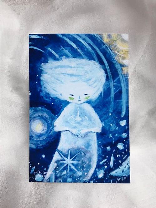 ポストカード「青い世界」お月さま