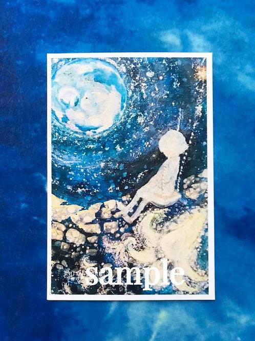 ポストカード    HISA 青い世界「宇宙の思い出ーダイヤー」