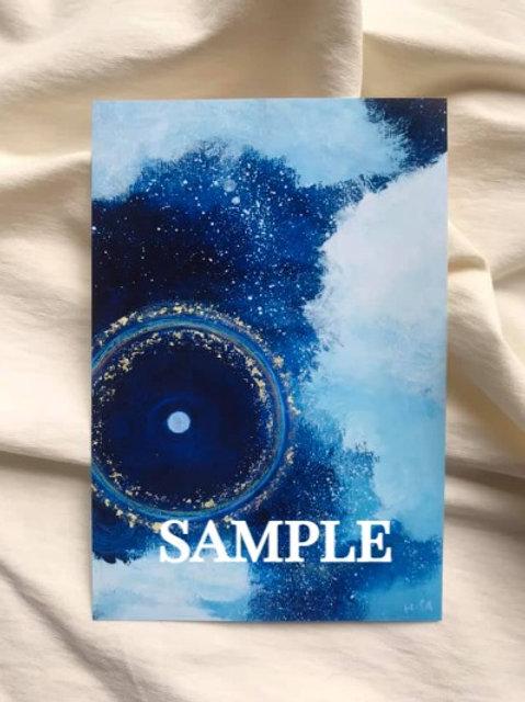 小さな複製画(はがきタイプ)HISA  青い世界 「COSMOS-虹の輪ー」