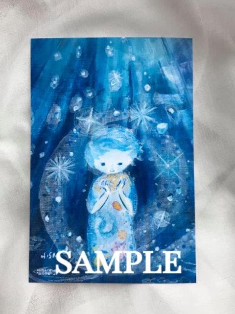 小さな複製画(はがきタイプ)HISA  青い世界 「星の音楽」