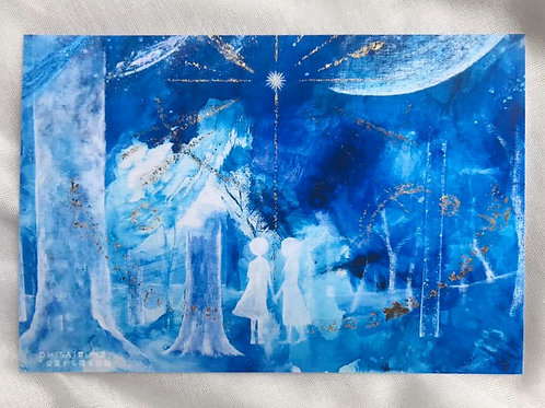 ポストカード「青い世界」金星から降り注ぐ祝福(横)