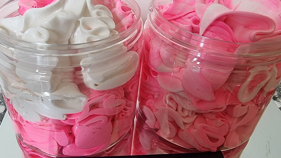 Raspberry fizz whipped soap - large pot