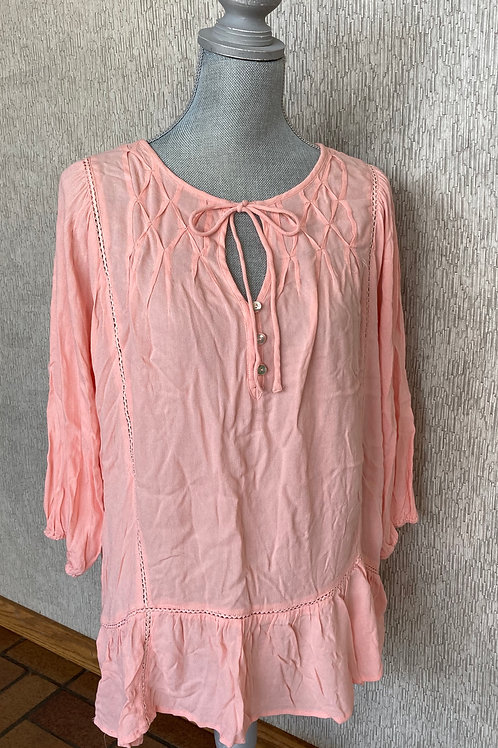 Peach long sleeve peasant blouse