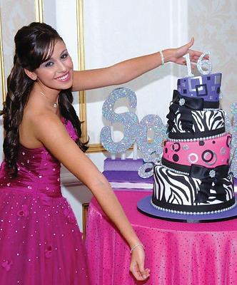sweet 16 teen with cake